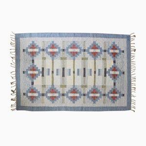 Alfombra sueca Mid-Century de tela plana de Rölakan, años 60