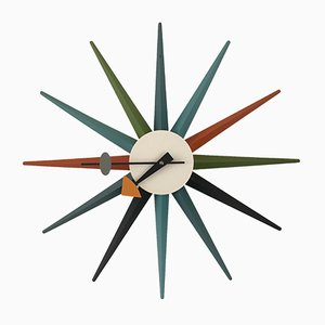 Italian Oak and Steel Sunburst Clock by George Nelson for Vitra, 1990s