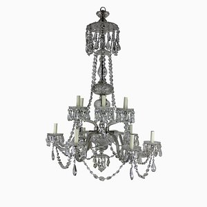 Large Antique English Cut Glass Chandelier, 1890s