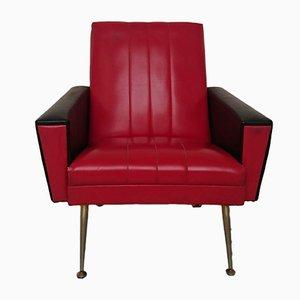 Sillón Mid-Century de cuero sintético en rojo y negro, años 60