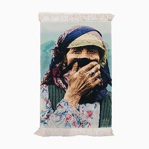 Alfombra Mid-Century de seda y lana hecha a mano, 1967