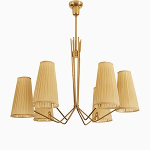 Large Brass and Silk Chandelier from Kalmar, 1950s
