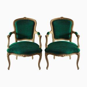 Französische Armlehnsessel mit smaragdgrünem Seidenbezug, 1780er, 2er Set