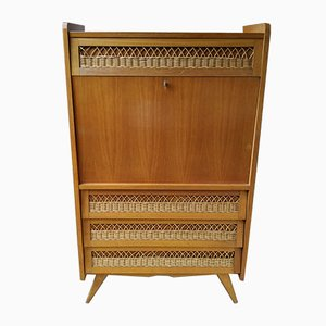 Mid-Century Oak and Rattan Secretaire with Compass Feet, 1960s