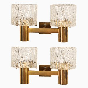 Mid-Century Danish Brass and Glass Sconces from Orrefors, 1966, Set of 2