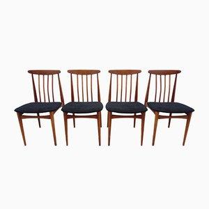 Chaises de Salle à Manger Tchécoslovaques Vintage en Bois et Tissu Noir, 1960s, Set de 4