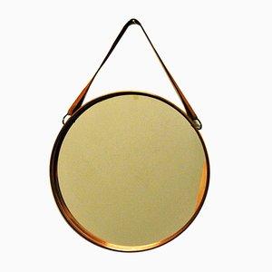 Espejo Mid-Century redondo con marco de cobre, años 60