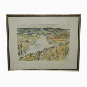 Impressionistic Watercolor Landscape by Jo Pieper, 1960s