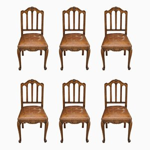 Antique French Leather and Oak Dining Chairs, Set of 6