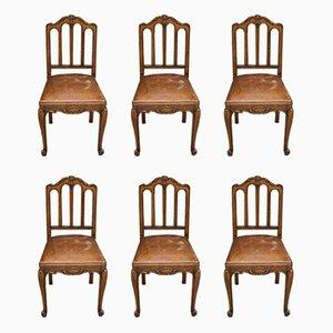 Chaises de Salle à Manger Antiques en Chêne et Cuir, Set de 6