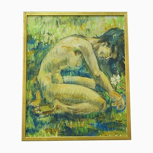 Naked Woman Oil Painting by Ebbe Hoglund, 1960s