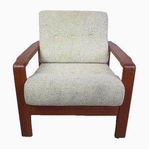 Butaca Mid-Century de teca y lana, años 60