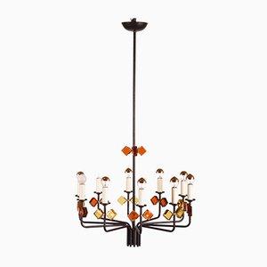 Lámpara de araña escandinava moderna de Svend Aage Holm Sørensen para Holm Sørensen & Co, años 50