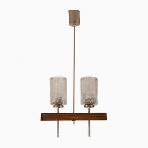 Lámpara de araña danesa Mid-Century con pantallas de vidrio, años 60