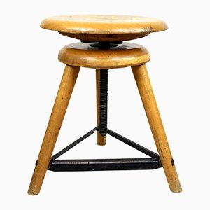 Mid-Century Industrial Metal and Wood Stool, 1960s