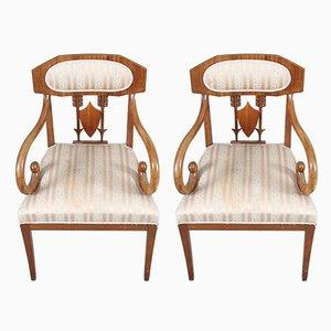 Biedermeier Armlehnstühle aus Nussholz von Karl Johan, 2er Set