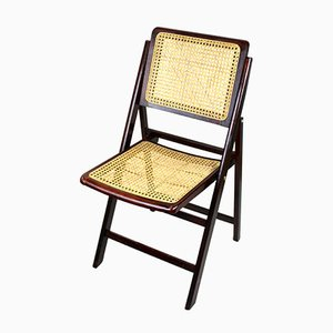 Mid-Century Folding Chair With Woven Cane, 1950s
