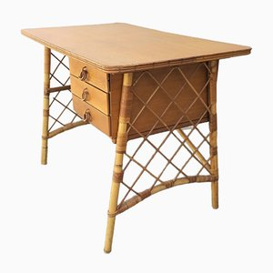 Französischer Mid-Century Schreibtisch aus Rattan von Louis Sognot, 1950er