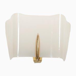 Aplique Alraune Mid-Century de latón y plexiglás, años 50