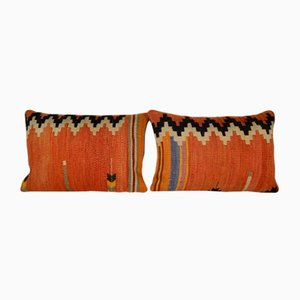 Orange Woven Kilim Throw Pillow Covers from Vintage Pillow Store Contemporary, Set of 2
