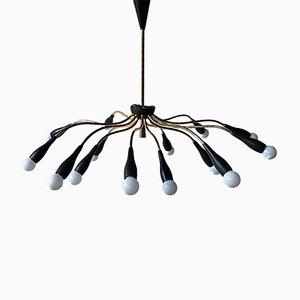 Lámpara de araña italiana Mid-Century de latón de Stilnovo, años 50