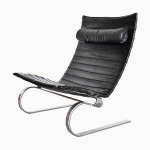 Danish Chrome Plating and Leather Lounge Chair by Poul Kjærholm for E. Kold Christensen, 1970s