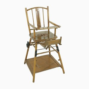 Mid-Century Beech Children's High Chair, 1950s
