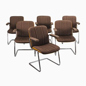 Chaises de Salle à Manger en Plaqué Chrome et Contreplaqué par Martin Stoll pour Karl Dittert, Allemagne, 1960s, Set de 6