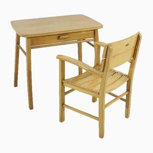 Mesa y silla infantiles de haya de Herlag, años 50