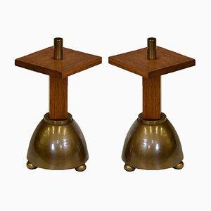 Brutalistische industrielle Kerzenhalter aus Messing & Eiche, 1970er, 2er Set