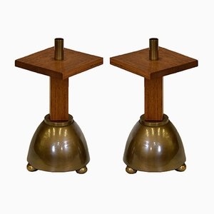 Industrial Brutalist Brass and Oak Candleholders, 1970s, Set of 2