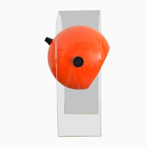 Italian Modern Aluminum and Orange Acrylic Table Lamp, 1960s