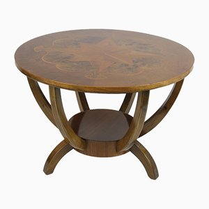 Vintage French Walnut Side Table with Marquetry, 1920s