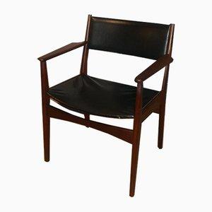 Chaise d'Appoint Mid-Century en Skaï et Bois, 1960s