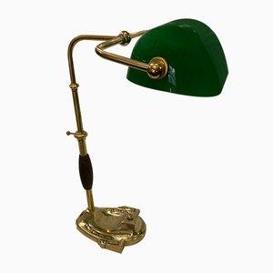 Lampada da tavolo Churchill vintage in ottone e bronzo, anni '20