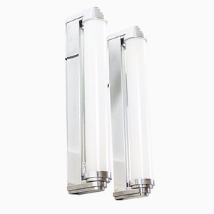 Art Deco French Aluminum and Chrome Plating Model Carlton Sconces from MLE Hotel Lighting, 1980s, Set of 2