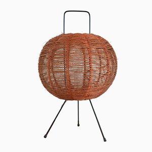 Lámpara de mesa escandinava moderna de metal y esfera de sisal, años 60