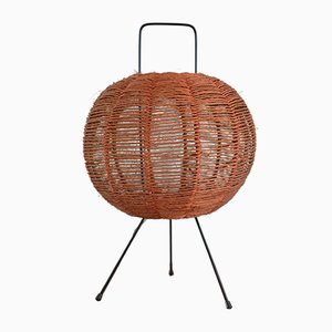 Scandinavian Modern Metal and Sisal Sphere Table Lamp, 1960s