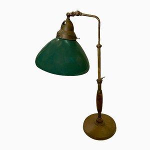 Lampada da tavolo industriale in faggio e ottone, Italia, anni '30
