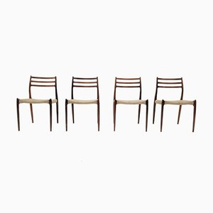 Model 78 Rosewood & Wool Dining Chairs by Niels Otto Møller for J.L. Møllers, 1960s, Set of 4