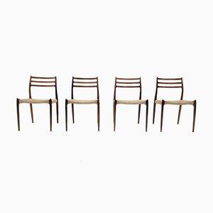 Modell 78 Esszimmerstühle aus Palisander & Wolle von Niels Otto Møller für J.L. Møllers, 1960er, 4er Set