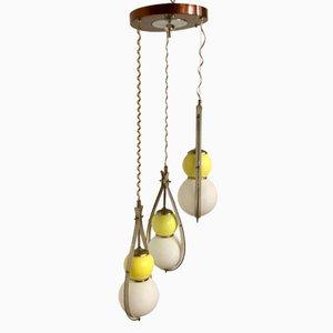 Mid-Century Italian Opaline Glass Ceiling Lamp, 1950s