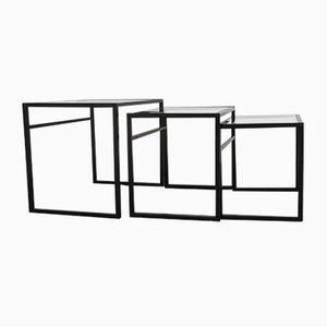 Modern skandinavische Satztische aus Glas & Metall von Ikea, 1970er