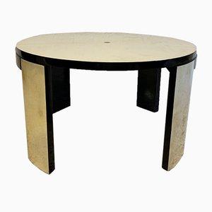 Tavolino Art Déco in acero e pergamena, Francia, anni '40
