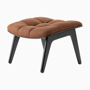 Black Oak & Rust-Colored Leather Mammoth Ottoman by Rune Krøjgaard & Knut Bendik Humlevik for Norr11