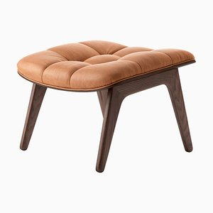 Dark Stained Oak & Cognac Leather Mammoth Ottoman by Rune Krøjgaard & Knut Bendik Humlevik for Norr11