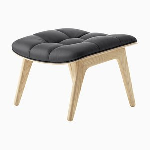 Natural Oak & Anthracite Leather Mammoth Ottoman by Rune Krøjgaard & Knut Bendik Humlevik for Norr11