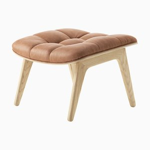 Natural Oak & Camel Leather Mammoth Ottoman by Rune Krøjgaard & Knut Bendik Humlevik for Norr11
