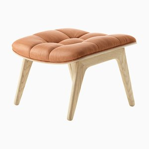 Natural Oak & Cognac Leather Mammoth Ottoman by Rune Krøjgaard & Knut Bendik Humlevik for Norr11