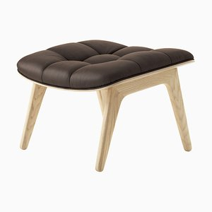 Natural Oak & Dark Brown Leather Mammoth Ottoman by Rune Krøjgaard & Knut Bendik Humlevik for Norr11